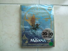 Moana (2017, Blu-ray) 2D+3D Combo Steelbook w/ PET Slip, Craft Sticker