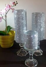 5 Set Silver Glass Wedding Center Pieces Crystal Tower Candle Holder Table Decor