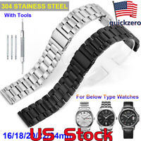 Men Women Replacement Stainless Steel Watch Band Strap Belt Buckle Clasp 16-24mm