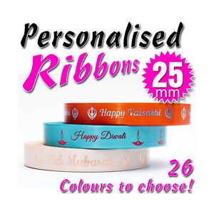 PERSONALISED RIBBON- 15mm - 25mm - FOIL PRINTED - Birthdays Anniversaries Gifts