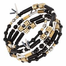 "Silpada 'Nightfall' Natural Agate, Hematite & Pyrite Bracelet, Silver & Brass 8"""