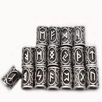 24 Pcs/Set Vikings Norse Runes Beads for Bracelets Necklace Beards Hair Paracord