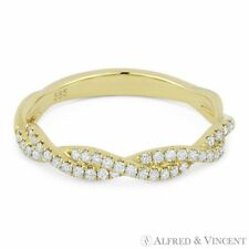 0.25 ct Round Diamond Anniversary Band Stackable 14k Yellow Gold Right-Hand Ring