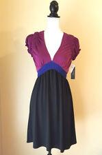 Laundry by Shelli Segal Womens Dress Short Sleeve V Neck Pleated Black Size 2