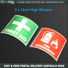 REFLECTIVE Fire Extinguisher & First Aid sticker OH&S Safety Decals #F020