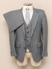 Vintage Mens 38R Montgomery Ward 3 Piece Grey Pinstripe Suit