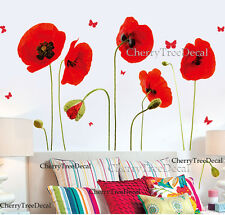 Red Poppy Flowers Butterflies Wall Stickers Home Decor Transparent Art Decal UK