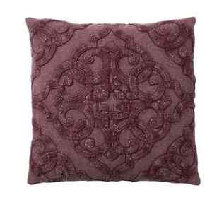NEW POTTERY BARN | Drew Embroidered Pillow Cover 18 x 18 Cotton Fig Maroon