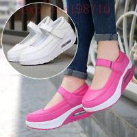 New Womens Wedge Heels Platform Shoes Ankle Starp Pumps Nurse Athletic Sneakers