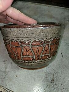 Gorgeous Studio Art Pottery Incised Fish Lidded Bowl Signed JT