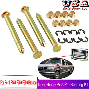 Door Hinge Pin & Pin Bushing Kit For Ford Bronco F150 F250 F350 Pickup Truck