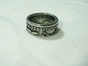 ..Platinum Plated Sterling Silver United States of America Coin Design Band Ring