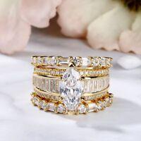7.13Ct Marquise Cut D/VVS1 Diamond 18k Yellow Gold Over Baguette Bridal Ring Set