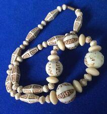 Antique Art Deco Czech Egyptian Revival Uranium Glass Max Neiger Bead Necklace