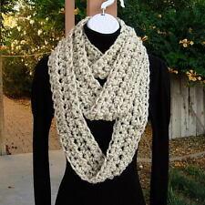 Extra Long Skinny INFINITY SCARF Oatmeal Beige Crochet Knit Narrow Winter Cowl