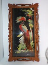 New Listing1950's Mexican Feather Craft Bird Picture Hand Carved Cedar Wood Frame Cartimex
