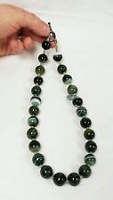 25 Bead Dyed Green Striated Agate Necklace