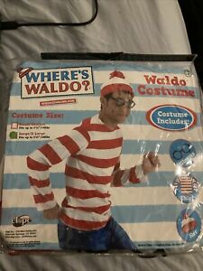 Where's Waldo Kit Halloween Costume Outfit Shirt Hat Glasses Large X-Large