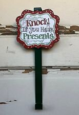 AG Designs Christmas Decor - Green Knock If You Have Presents Wreath Door Hanger