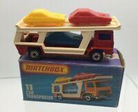 Matchbox Superfast No 11 Car Transporter Red, Purple Glass, Unp Base MIB