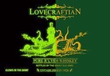 R'lyeh Whiskey 1928 H P LOVECRAFT Cthulhu GLOW IN THE DARK TEEVILLAIN T-SHIRT!!