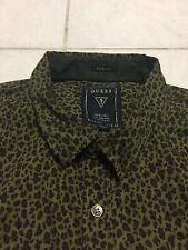 NWOT Guess Mens Leopard Print Casual Size L Green/Black Retro Yeezy Bape Rare