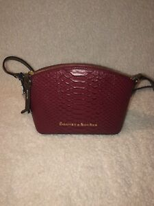 Dooney & Bourke WINE Python Embossed Leather Ruby Crossbody Messenger Bag NWT