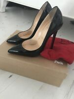 Christian Louboutin Shoes Pigalle Black Heels Paitent 120 Red Bottoms With Box!