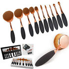 NEW 10PCS Makeup Toothbrush Brush Eyebrow Oval Powder Cream Foundation Brush Set