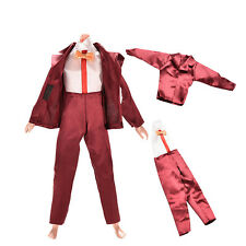 2Pcs/Set Doll Clothes Suit for Barbie Ken Wine Red with Coat Pants for Dollseca