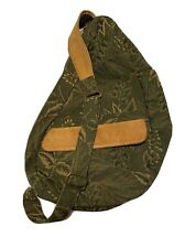 LL Bean Traveler Ameribag Sling Healthy Backpack Green Leaf Brown Leather Trim