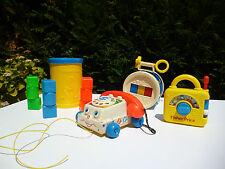 ♣Jouet Lot Fisher Price Le Téléphone, La boite A Cube, Le Tambour, Poste Musical