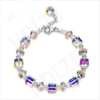 925 Silver Mystic Rainbow Topaz Bracelet Bangle Suit Exquisite Women Jewelry