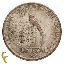 1925 Guatemala 1/4 Quarter Quetzal in VF Condition KM #240.2