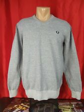 """Fred Perry Mens M Medium Gray Sweater Jumper Solid V-neck 21"""""""