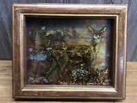 Vintage Deer Theme Shadow Box 3D Copper Foil And Reverse Painted, Amazing A9
