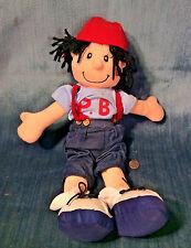 "Vintage Plush Boyish 15"" Doll Baseball Cap Suspender Jeans & Tenniis Shoes"