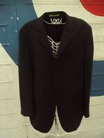 Mod/Retro Style Three Button Suit Jacket In Black Pinstripe Size 42R From Burton