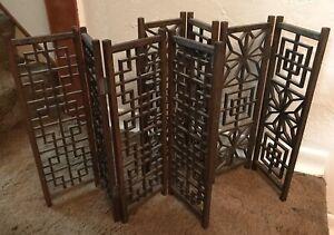 Vintage Pair Mid Century Modern Wooden Wall Divider Screen Panel MCM Asian Tiki