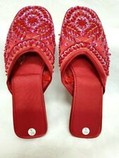 Ladies Red Beaded Slip on Shoes/Sandals