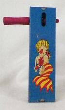 Vintage Tin Noisemaker Toy Ratchet Flapper Lady Jester Kirchhof New Years 1928