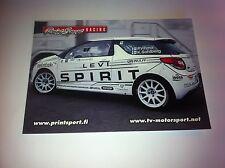 CP POSTCARD CARTOLINA CITROEN DS3 VIHMA RALLY RALLYE WRC 2011