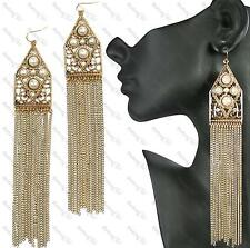 "6""long TOPSHOP tassle EARRINGS PEARL&CRYSTAL vintage gold plt SHOULDER DUSTERS"