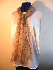 100% silk floaty chiffon scarf  Black floral print on beige   NEW