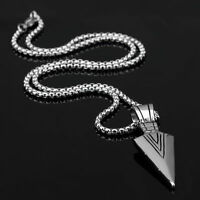 Fashion Mens Silver Arrowhead Arrow 316L Stainless Steel Pendant Chain Necklace