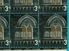 MALTA 1965-70 3d Definitive Block 6 SG335 ERROR major MISS-PERF Ref:Ki12