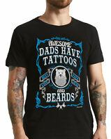 Mens T-Shirts AWESOME DADS Have Tattoos and Hipster Beards Gift