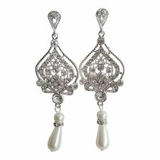 Earrings Bridal Silver Drop Wedding Dangle Vintage Pearl Womens Cocktail E103