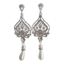 Earrings Bridal Silver Drop Wedding Dangle Vintage Pearl Womens Cocktail E103