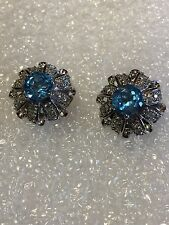Genuine Blue Topaz Gemstone 92.5% Sterling Silver Vintage Button Stud Earrings